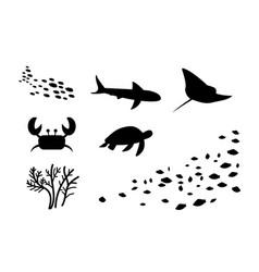 silhouette fishstingray crab turtle coral vector image