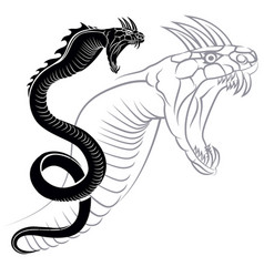 silhouette of chinese dragon crawling vector image