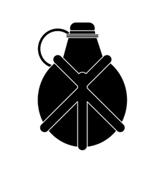 Silhouette water canteen equipment camping vector
