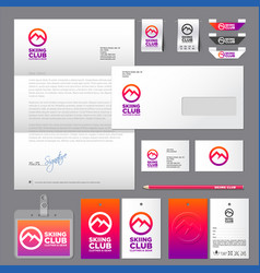 Skiing club identity labels set vector