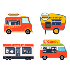Street food festival color trailer vector