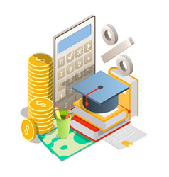 Student loan rates concept isometric vector