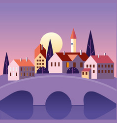 Summer landscape old city bridge july month vector