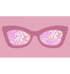 Sunglasses with flowers in reflection vector