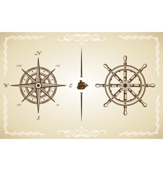 Vintage Compass and Rudder vector image