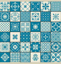 Vintage oriental moroccan tiles patterns set vector