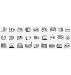 vintage retro radio tape recorder doodle set vector image