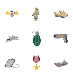 Weapons icons set cartoon style vector image