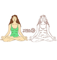 Woman sitting on lotus yoga pose vector image