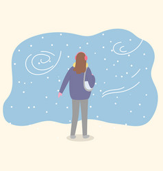 woman walking alone in park cold winter weather vector image