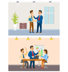working task and business meeting office workers vector image