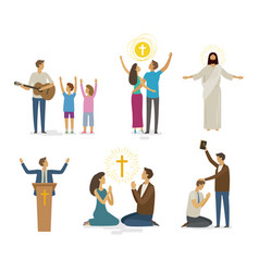 worship prayer faith icon set religion concept vector image