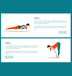 yoga poster plank and forward hold postures set vector image