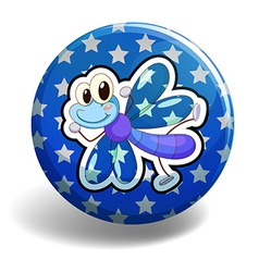 Blue dragonfly on round badge vector image