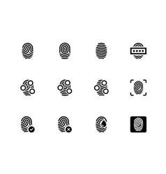 Fingerprint icons on white background vector