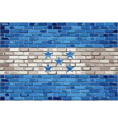 Grunge flag of Honduras on a brick wall vector image vector image