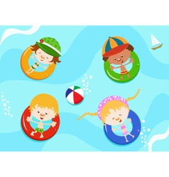 Kids Enjoying Water vector image vector image