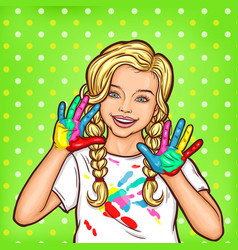 Pop art smiling little girl showing palms vector