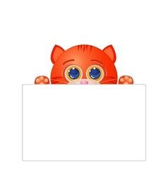 Red cat with blank sign vector image vector image