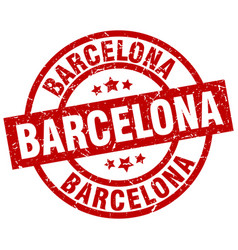 barcelona red round grunge stamp vector image vector image
