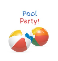 Pool Party Beach balls Isolated on white vector image vector image