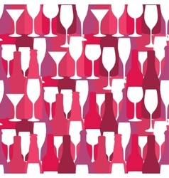 Seamless background with wine and cocktail bottles vector image