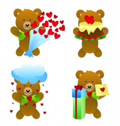 teddy bear with love gifts vector image vector image
