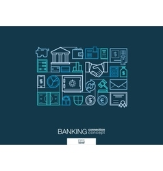 Banking integrated thin line symbols Modern vector image vector image