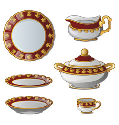 collection of plates tureens cups jug for cream vector image vector image