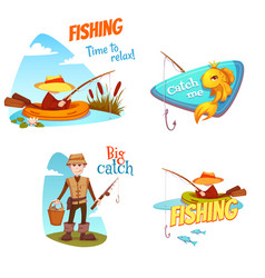 different fish and fisherman vector image