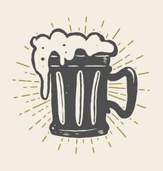 hand drawn vintage beer mug on white background vector image vector image
