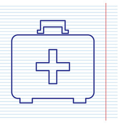 medical first aid box sign navy line icon vector image