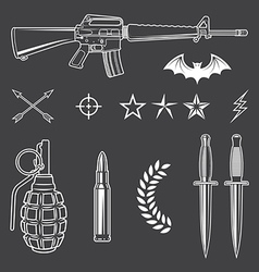 Military emblem elements set vector
