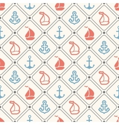 Seamless pattern of anchor sailboat shape vector image