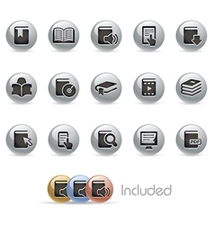 Books Icons MetalRound Series vector image