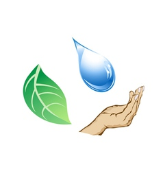 cycle of water-drop hand and leaf vector image