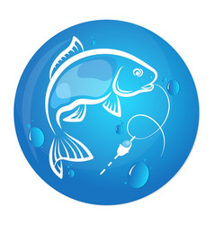 fish and water drop design for fishing vector image vector image