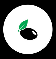 plum with leaf fruit simple black and green icon vector image vector image