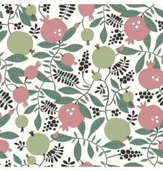 Seamless pattern of pomegranate and apple tree vector