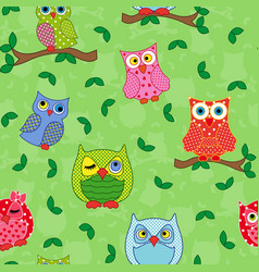 seamless pattern with ornamental owls over light vector image vector image