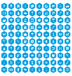 100 eco design icons set blue vector