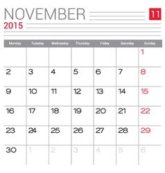 2015 November calendar page vector