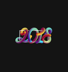 3d numeric 2018 with frame vector image