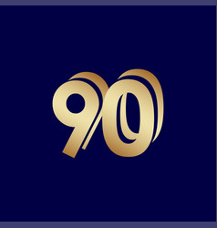 90 years anniversary celebration blue gold vector