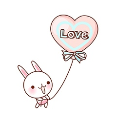 A rabbit is holding a balloon vector image