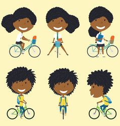 African american school girls on the bikes vector