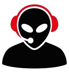 Alien call center flat icon vector