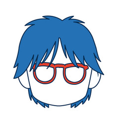 anime boy with blue hair and glasses vector image