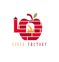 Apple cider with brick oven concept design vector