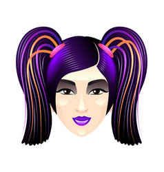 asian girl with bright purple hair isolated on vector image